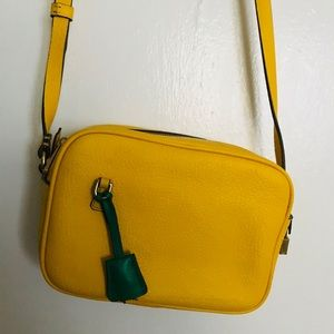 Yellow J. Crew across body bag with green detail